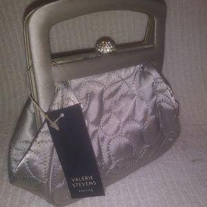 Valerie Stevens Silver with Rhinestone Evening Bag